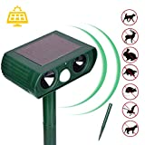 Mgrett Kattenverjager, dierenverjager op zonne-energie, werkt op batterijen, waterdicht, kattenverjager, dierafweer waterdicht, katten, honden, herten, muizen, afweermiddel Medium groen