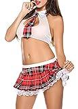 Aranmei Damen Sexy Minirock mit BHs Set Babydoll Nachtwäsche Neckholder Tiefer V-Ausschnitt Cosplay Schulmädchen Kostüm Dessous Halloween Kostüm(weiße,Small)