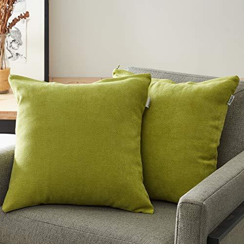 Topfinel Kissenbezüge Einfarbig Chenille Dekokissenhülle mit Verstecktem Reißverschluss für Sofa Auto Bett 2er Set 50cmX50cm Grün -