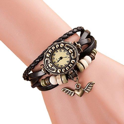 Eleganzza women's casual watch ladies bracelet watch HeartWing pendant (black)