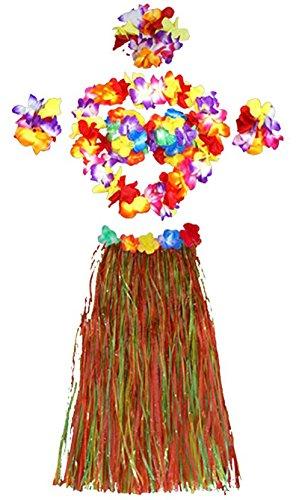 Demarkt Hula Gras Rock Hawaii Party Kostüm Set von 5 Stück,Hawaiian Kostüm,Hawaii Rock,Hula Rock,Blume Stirnband,Blumen Armband Halskette Girlande, Mädchen Zubehör size 60cm (Gefärbt)
