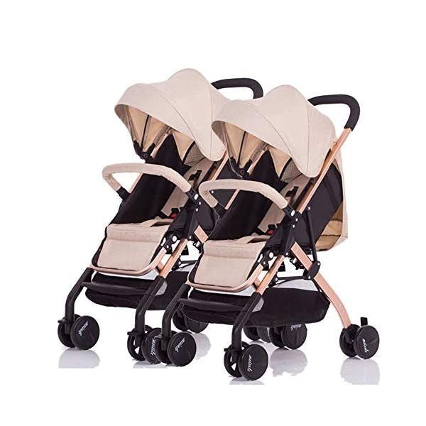 MYRCLMY Double Stroller Twin Baby Stroller,Can Sit And Detachable,Ultralight Portable Folding Backrest Push Handle Double Trolley Jogging Four-Wheel Four Seasons Universal,Brown MYRCLMY *TWIN STROLLER: Getting everywhere with two little ones has never been easier, thanks to the Double Strollers; you can glide around town even when you only have one hand free to steer; you can even roll through a standard size doorway. *ADJUSTABLE BACKREST & CONNECTABLE SEATS :The backrest can adjust to fit baby's sleep posture to keep comfortable sleeping. Two seats can be connected to lengthen the seat. *SAFETY WHEELS & 5-POINT SAFETY BELTS:The springs in front wheels absorb shocks for easy to control direction and safety. The 5-point safety belt is equipped with each seat to ensure security while keeping your baby fit to the safety belt to feel comfortable. 1