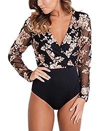 d6bea230e3 Profitd Women Sexy Bodysuit Back Mesh Bodysuits Long Sleeve V Neck Mesh  Black Bodycon Bodysuit Elegant