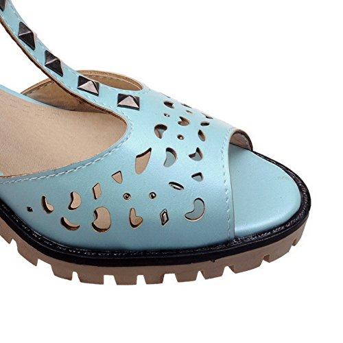 AgooLar Femme Boucle à Talon Correct Pu Cuir Mosaïque Sandales Bleu
