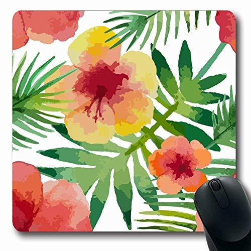 Luancrop Mousepad längliche Allover Aloha Aquarell Hibiskusblüten exotische verblasste Natur grüner Strand botanischer Zweig Design Blatt Büro Computer Laptop Notebook Mauspad, rutschfeste Gummi -