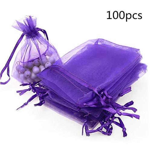 Bobopai 100pcs Organza Gift Bags, Sheer Drawstring 7x9 cm Wedding Party Favor Candy Bags Jewelry Pouches by SamGreatWorld (7x9 Purple1) Cut Sheer