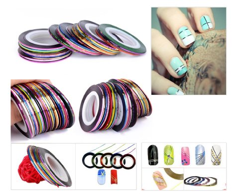 Lot 5 rouleaux décoration ongles adhesive nail art STRIPING TAPE / Or - Argent - Noir - blanc + 1 offert