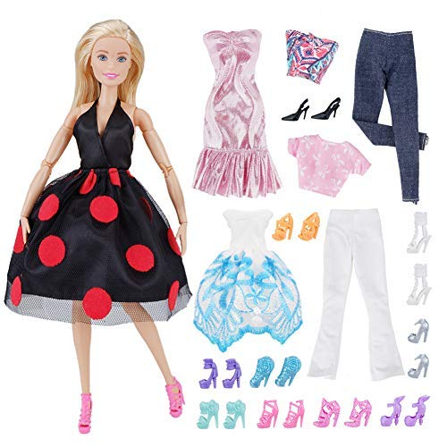 d403bf9f38 E-TING 5 Sets Casual Wear Clothes Outfit Party Dress + 10 Pair Shoes for  Girl Doll