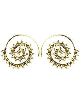 Chic-Net Spiralen Ohrringe Dreiecke Ellipsen Messing Brass antik golden nickelfrei Tribal Piercing Schmuck