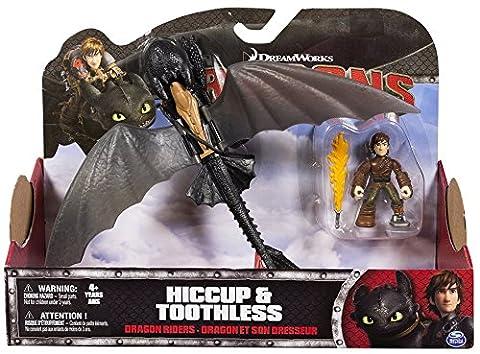 Dragons - Ensemble de jeu d'action - Dragon Krokmou nuit avec des ailes mobiles et Entraîneur Harold