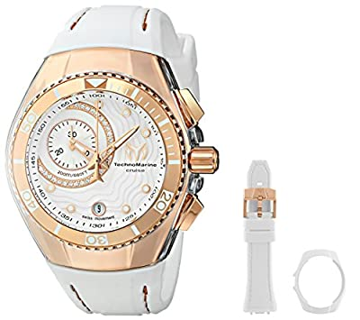 Technomarine Cruise One Swiss Women's Quartz Watch with White Dial Chronograph/Analog Display and White Silicone Strap 114042