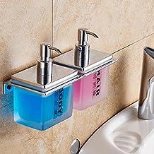 YYF Dispensadores de jabón Cuarto de baño de pared Manual de dos cabezas dispensador de jabón Un solo cabezal desinfectante de manos a máquina de jabón Caja de botellas