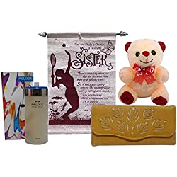 Saugat Traders Brown Canvas Combo Of Rakhi Wallet Teddy Bear , Scroll Card & Perfume For Sister(Women/Girls)