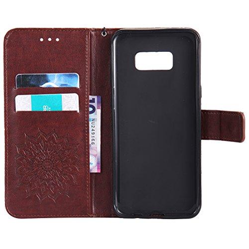 Custodia Galaxy S8 - Dfly Premium PU Goffratura Mandala Design pelle Invisibile Forte chiusura magnetica Design Flip Cover, Per Samsung Galaxy S8, Marrone Marrone