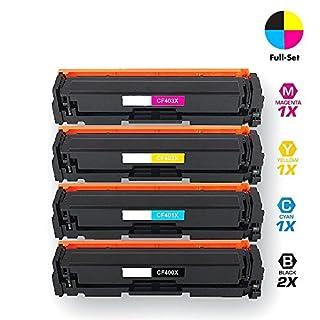 Airby® Kompatibel CF400X CF401X CF402X CF403X 201X Toner kartusche für HP Color LaserJet Pro MFP M277dw, M252dw, MFP M277n, M252n, Hochleistungspaket 5 (2 x Schwarz, Cyan, Gelb, Magenta)
