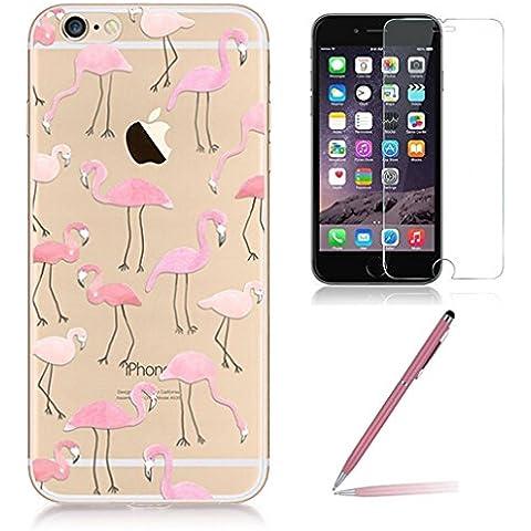 Custodia iPhone 6/6s [Pellicola Protettiva in Vetro Temperato], Yoowei® Design Colorato Cristallo Trasparente Ultra Sottile Morbido TPU Gel Case Cover per iPhone 6/6s 4.7