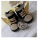 Luxus Baby Schuhe mit Strasssteine und Schnuller, Luxury Baby Schoes Set, Crystal Pacifier, Glitzer , Schwar, Gold, Geschenk zur Taufe oder Geburt (6-12m)