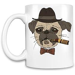 Bowtie pug Taza para café