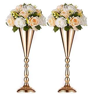 Nuptio 2 Piezas de Soporte Metálico de Flor, Jarrón de Flores Artificiales para la Pared el Armario de Televisión, Decoración de la Flor de la Mesa de Bienvenida para Boda