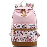 KAXIDY Damen Mädchen Schüler & Schülerin Lässige Vintage Blumendruck Rucksack Daypack Schulranzen Schulrucksack Wanderrucksack Schultasche Rucksack für Freizeit Outdoor Sports