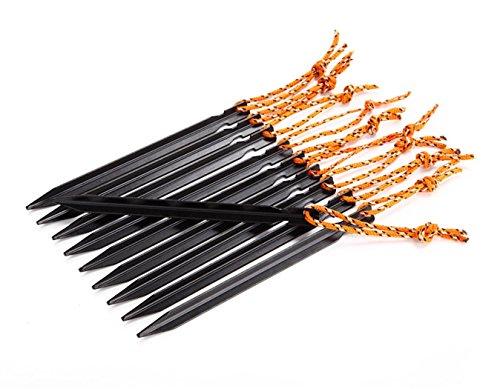 Estacas para Tienda de Campaña, Netspower 18 cm Aleación de Aluminio Estacas para Tienda de Campaña con Cuerda de Camping Exterior Playa Paquete de 16 piezas(Negro)