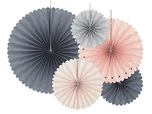 Deko Rosetten Set Pastell Ø 38, 25, 21, 19, 14 cm 5 Stück - PomPoms Lampions Hängedekoration Partydeko Hochzeit