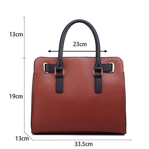 LeahWard® Damen Berühmtheit Stil Tragetaschen Groß Damen Schultertasche Handtaschen mit Gurt 412 Schwarz/TAN/Grau