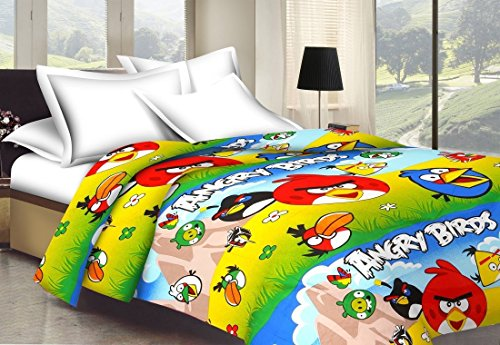 Monil Angry Birds Cartoon Character Kids Single Bed Reversible AC Dohar/Blanket (Set of 1)