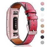 """Mornex für Fitbit Charge 3 Armband,Echte Leder 3SE Armbänder, Unisex Fitness-Zubehör Ersatzband mit Metall Konnektoren(5,5""""-8,1"""") Red"""