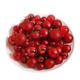 Toci, 86palline di Natale, set con palline infrangibili per albero di Natale di diametro 4-7cm, decorazione per Natale, gioielli per albero di Natale, gioielli per albero con ciondolo, belle palline lucide, scintillanti, opache, trasparenti Rot
