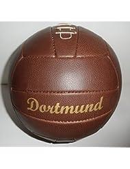 Ballon de football//Marron/Taille 5/Nostalgie Ball/Nostalgie/Rétro au look cuir avec rivets et Print Inscription dorée Dortmund