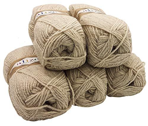 Alpaka Royal 5 x 100 Gramm Alize Strickwolle, 500 Gramm Wolle einfarbig (Sand 152) -