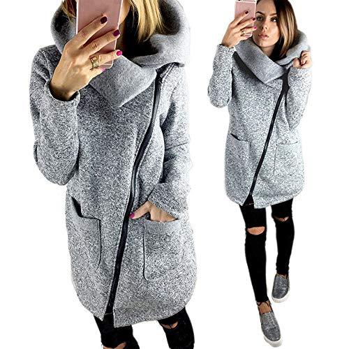 TianWlio Damen Mäntel Frauen Lässige Jacke Mantel Lange Reißverschluss Sweatshirt Outwear Tops