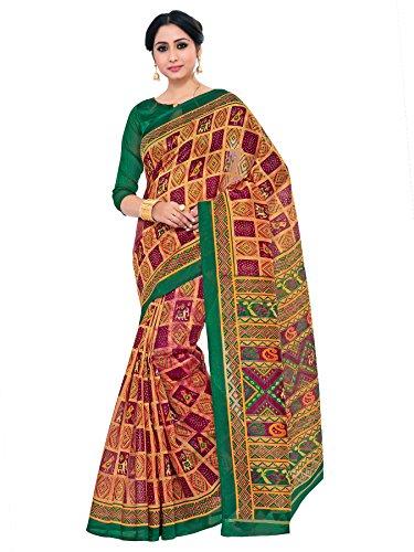 Kupinda patola Print Art Silk saree Color:Brown (4232-TK-06-MEJ-GRN)