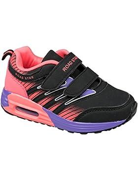 GIBRA® Kinder Sportschuhe, mit Klettverschluss, schwarz/pink/lila, Gr. 25-35