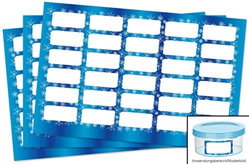 Kigima 90 edle Aufkleber Sticker Klebe-Etiketten Leer 4x2cm rechteckig blau Schneeflocken-Look perfekt für Geschenke, Hochzeit oder Tischdeko Leer Eingelegte Gläser