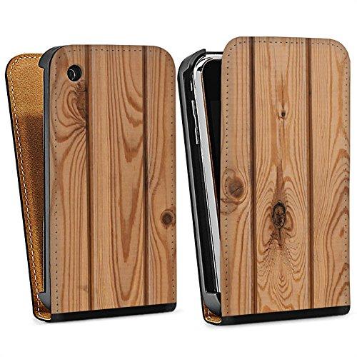 Apple iPhone 5s Housse Étui Protection Coque Look bois Planches Sol en bois Sac Downflip noir