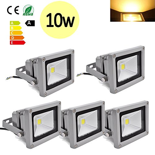 Hengda® 5 Stück 10W SMD LED Strahler Fluter IP65 Flutlicht Leuchtmittel Scheinwerfer Warmweiß Wandstrahler Außenstahler Leuchtmittel 85-260V AC