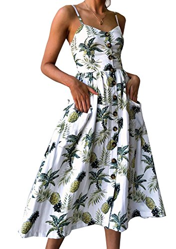 Quceyu Femme Robe Chic Longue Été Boheme Floral Épaules Dénudées Nu Col Casual Plage Vintage Robe (Blanc -2, X-Large)