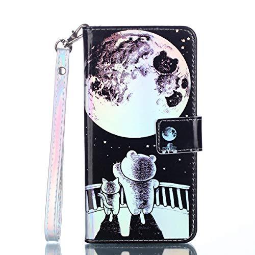 Cozy Hut LG Q6 Hülle Blau Bär, [Premium Leder] [Standfunktion] [Kartenfach] [Magnetverschluss] Schlanke Leder Brieftasche für LG Q6 - Sternkatzenjunges -