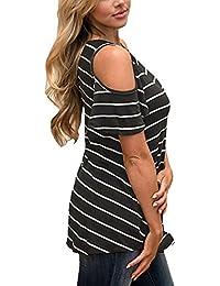 Mujer Camisetas Blusas Hombro es Ropa Gris Y Amazon Tops qFHvHO