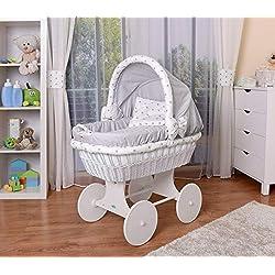 WALDIN Landau/berceau bébé complet avec équipement,26 modèles disponibles,Cadre/Roues blanc laqué,couleur du tissu gris/astre gris