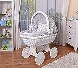 WALDIN Baby Stubenwagen-Set mit Ausstattung,XXL,Bollerwagen,komplett,26 Modelle wählbar,Gestell/Räder weiß lackiert,Stoffe grau/Sterne-grau