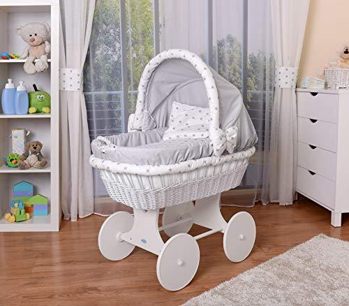WALDIN Baby Stubenwagen-Set mit Ausstattung,XXL,Bollerwagen,komplett,26 Modelle wählbar,Gestell/Räder weiß lackiert,Stoffe grau/Sterne-grau (Korb Grau Bett-decke)