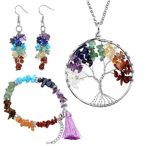 Jovivi set di gioiello albero della vita bracciale collana orecchini regalo per donna