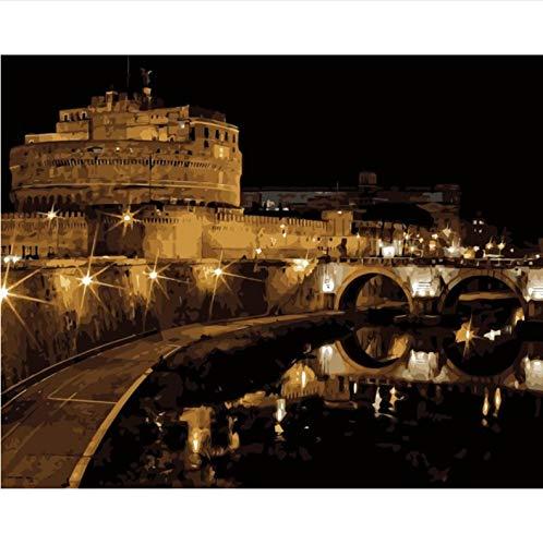 Castel Sant'Angelo, Roma, Italia Diy Pintura Por Números Pintura Acrílica Por Números Kit Paisaje Pared Fotos 50X60CM