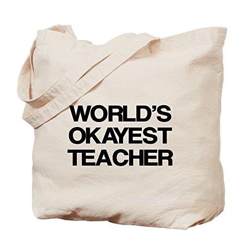 CafePress World's Okayest Teacher Tragetasche, canvas, khaki, S