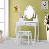 Schindora® Dressing Table with Mirror and Dressing Stool Make-up Dresser Set (dressing table and stool)