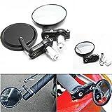 #7: Autofier Bike/Motorcycle's Black Colour 2Pcs Round Rear View Mirror 7/8