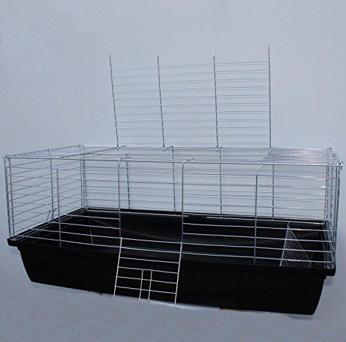 Nagerkäfig,Hasenkäfig,Meerschweinkäfig,Käfig,Rabbit,Zwergkaninchen ca. 100 x 54 x 43 cm schwarz